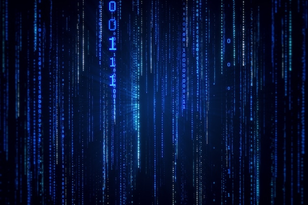 Падающий двоичный код в стиле матрицы в технологическом пространстве 3d иллюстрации