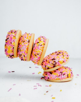 Falling bizet cakes with colorful glaze side view