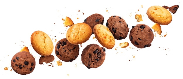 Falling broken chip cookies