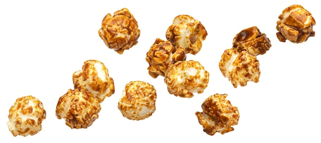 Падающий карамельный попкорн, изолированные на белом фоне