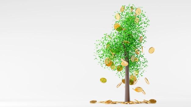 木から落ちるコインまたは木の上の葉のコイン、お金を節約する銀行の概念、3dレンダリング