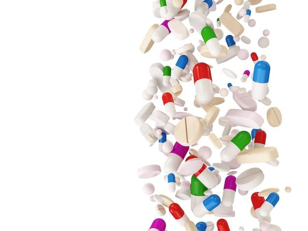Falling colorful medical pills