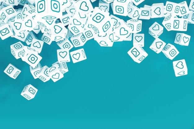 ソーシャルメディア活動のアイコンと立ち下がりキューブ。 3dイラスト