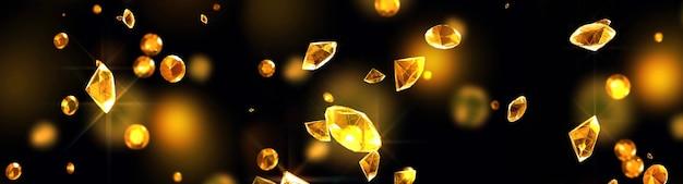 검은 배경에 떨어지는 다이아몬드. 3d 일러스트레이션