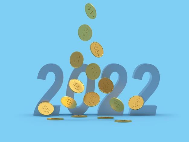 新しいyeaの数のための1ドル硬貨の落下