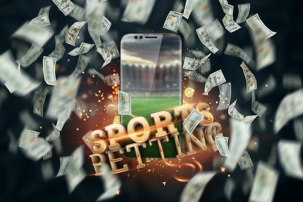 オンラインで賭けをする碑文のあるドルとスマートフォン。創造的な背景、ギャンブル。