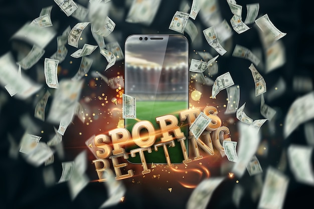 Falling dollars and smartphone with the inscription sports betting online. creative background, gambling.