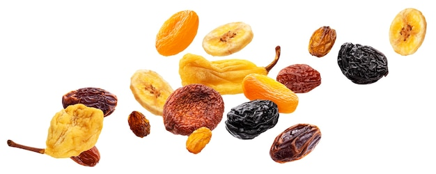 Falling dried fruits isolated on white background with clipping path