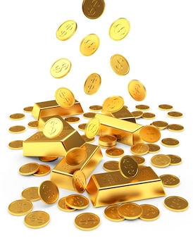 Falling gold bars and coins isolated