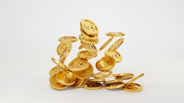 落下する金貨。 3dレンダリング。