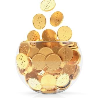 Падающие золотые монеты в стеклянной чаше