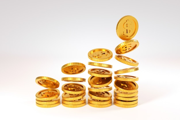 Falling gold coins money, business banking concept. 3d render.