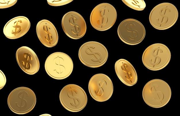 Падающие золотые монеты со знаком доллара на черном