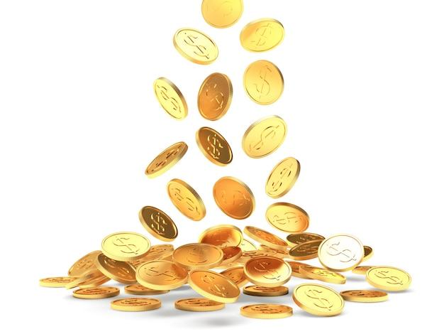 Падающие золотые монеты со знаком доллара