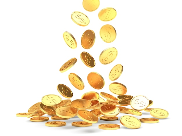 Falling gold coins with a dollar sign