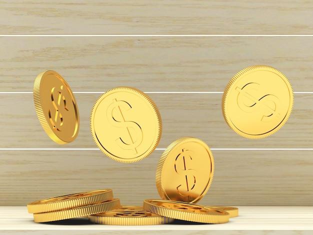 Падение золотых долларовых монет на дереве