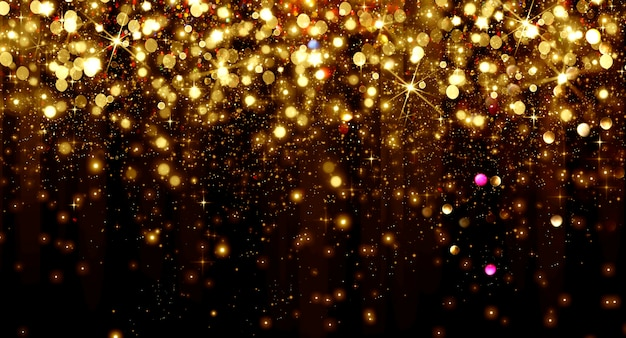 Falling golden bokeh particles and stars on a black background, happy new year holiday concept