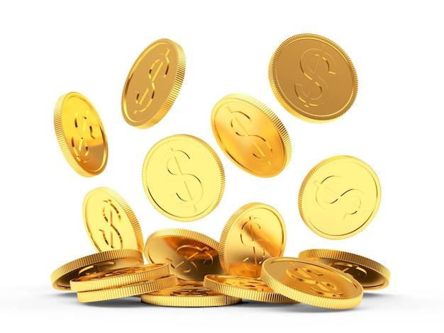 떨어지는 황금 동전 클로즈업