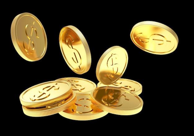 Падающие золотые монеты на черном