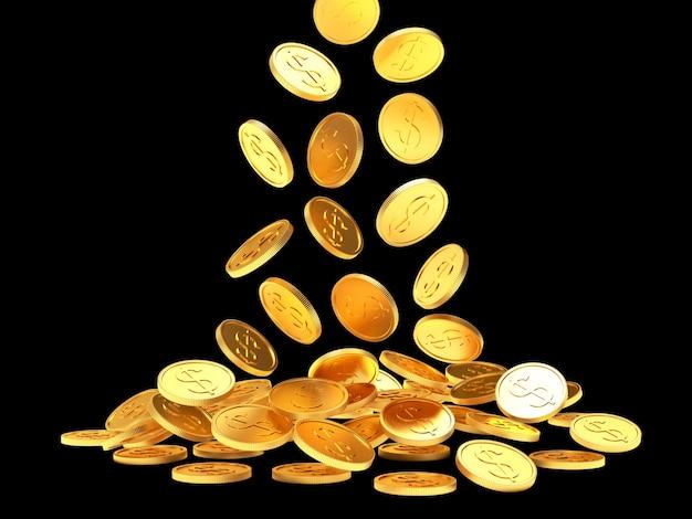 Падение золотых долларовых монет на черном