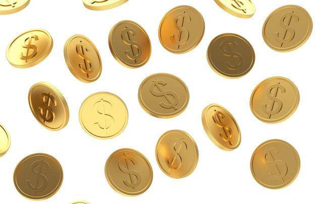 Падающие золотые монеты доллара