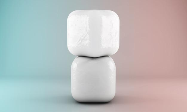 Падающие кубики льда на черном фоне. 3d визуализация.