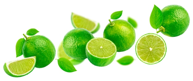 Falling lime isolated on white