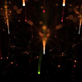 Падение метеора свет формы с эффектом боке 3d иллюстрации