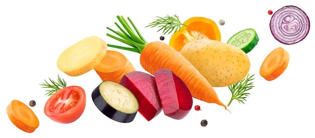 Падение смесь различных овощей, изолированных на пустое пространство