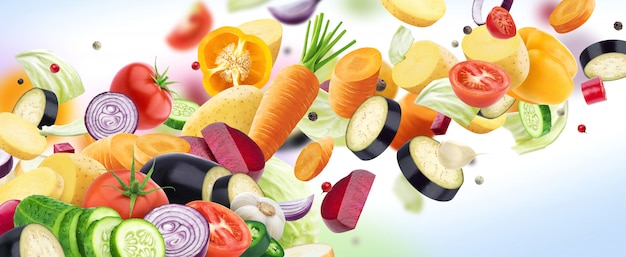 Падение смесь различных овощей, изолированных на белой стене