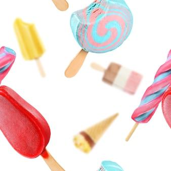 Падающие разноцветные фруктовые мороженое