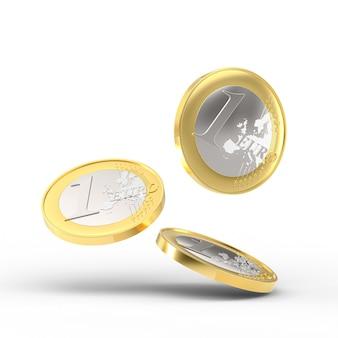 Падение одной монеты евро на белом фоне. 3d визуализация