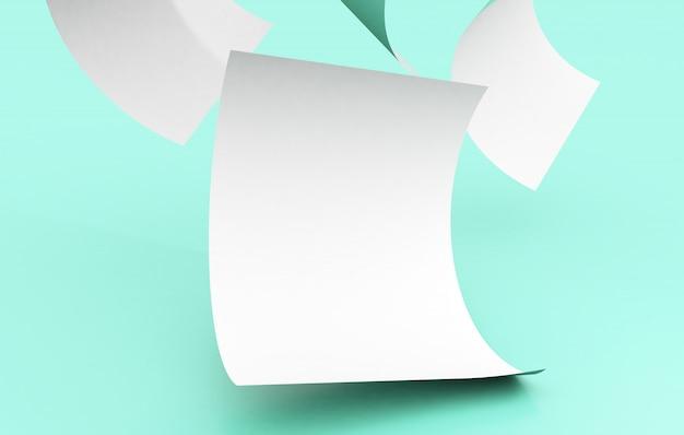 Падающие бумаги на макете поверхности
