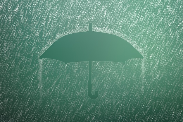 Falling raindrop with umbrella shape. heavy rain and weather storm in raining season.