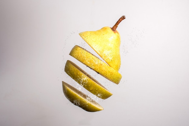 Falling slices of a pear in air