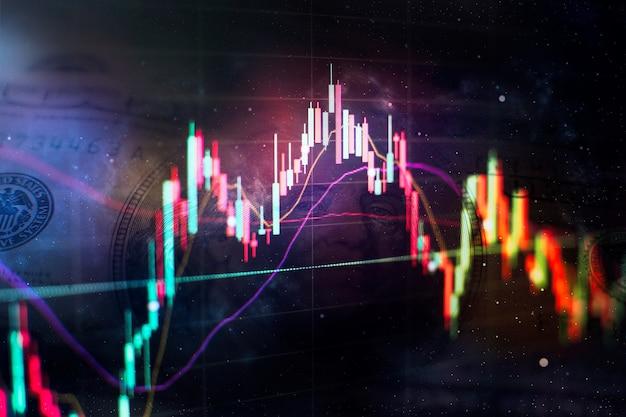 하락하는 주식 시장, 코로나바이러스에 대한 주식, 컴퓨터 모니터에 대한 전문적인 기술 분석을 위한 분석.