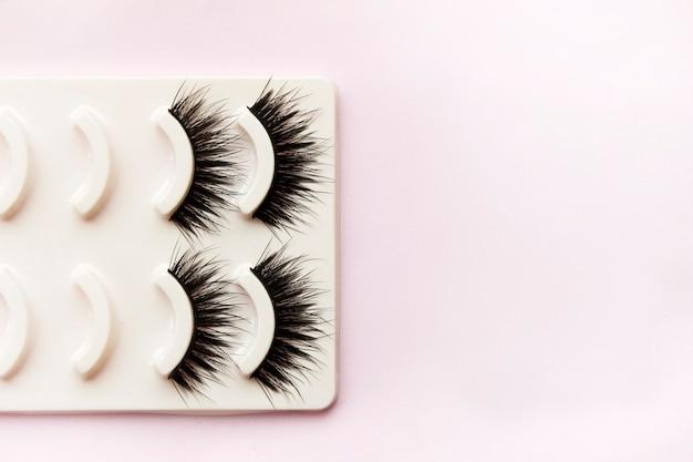 False beautiful black eyelashes in a box