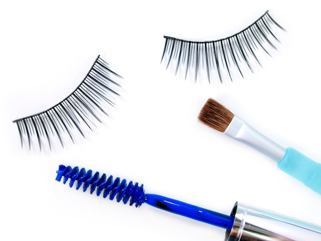 False eyelash mascara and make up brush
