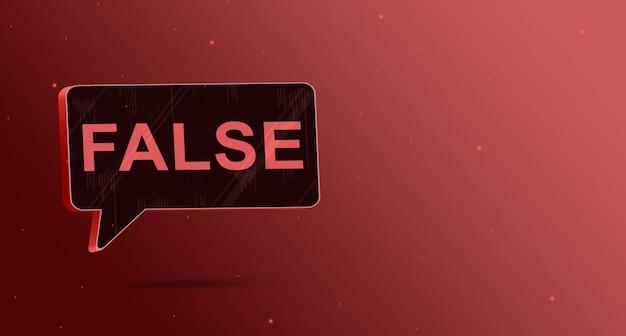 Значок пузыря ложной речи на красном фоне 3d визуализации