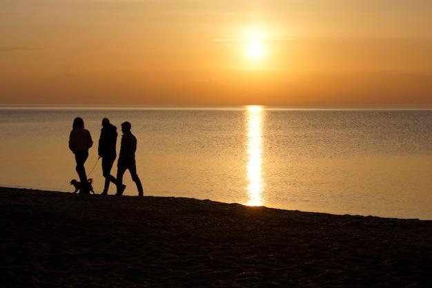 Семья и собака гуляют на берегу на фоне заката