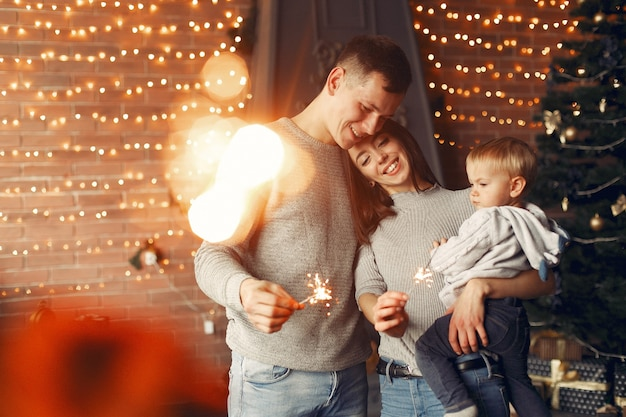 クリスマスツリーの近くに家で家族