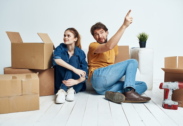 Family boxes with things moving housewarming lifestyle
