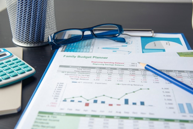 Family budget planner. saving and spending money plan. spreadsheet printout. financial concepts.