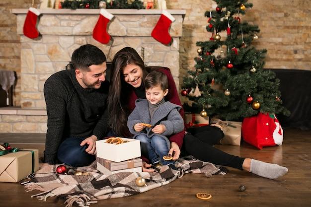크리스마스에 굴뚝으로 가족