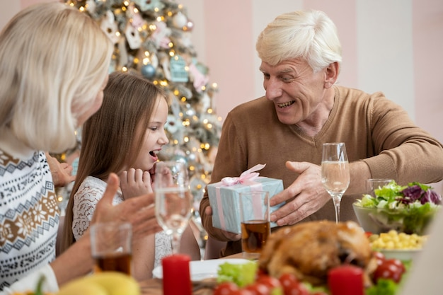 Family celebratine christmas at home