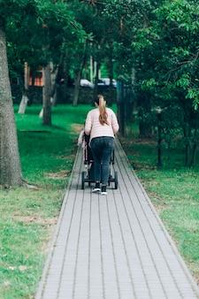 家族、子供、親のコンセプト。後ろから公園でベビーカーで歩く幸せな母。