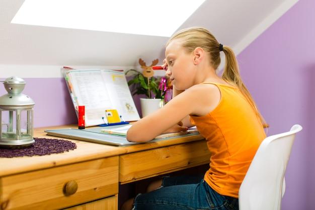 Family,child doing homework