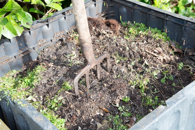 Family compost with a fork to turn it around