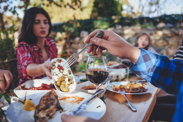Family dining outdoor
