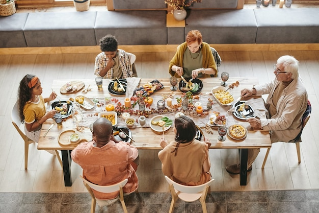 Family dinner at dining table
